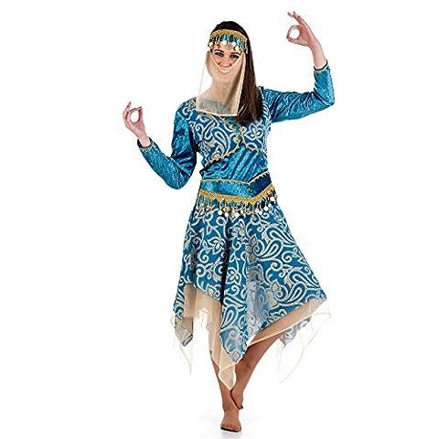 Haremsdame Inderin Kostüm Kleid Damen blau gold orientalische Tänzerin - M