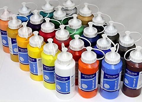 Lot de 24 Tubes Peinture acrylique 500 ml