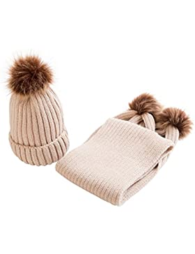 OverDose Nette Baby Kids Hut Warm Strick Woolen Ball Cap Hüte Mützen + Schal Keep Warm Set