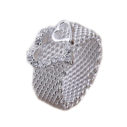 joyliveCY-Women's Jewelery Noble jewelry 925 Silver Plated Fashion Women's Ring wide network with two hearts size Q