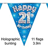 Happy 21st Birthday Blue Holographic Foil Party Bunting 3.9m Long 11 Flags