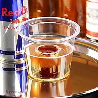 Bombe Tasses - 25ml Marqué Ce Transparent, Polypropylène, Froissable, Recyclable. Shot Tasses, Bombe Shotz , Idéal pour Rouge Bull & Jagermeister (Pack de 50)