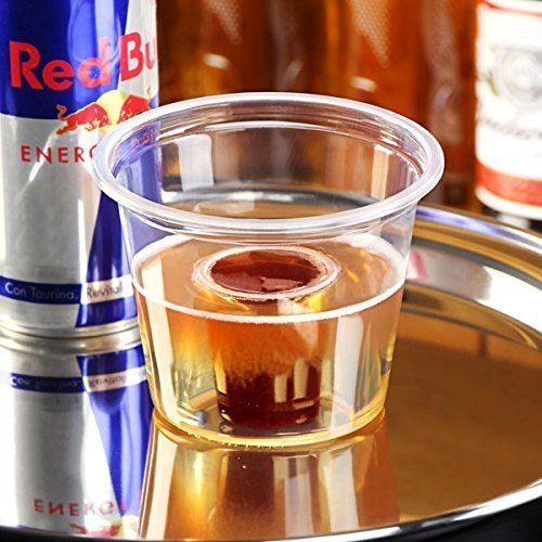 -Kennzeichnung Klar, Polypropylen, Knautschfähig, Recyclable. Shot Becher Bomb Shotz Ideal Red Bull & Jägermeister Packung 50) ()