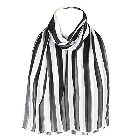 Damen-Frauen lange Wrap Chiffon Silky Style Vertical Stripes Schal Schals - Schwarz-Weiss