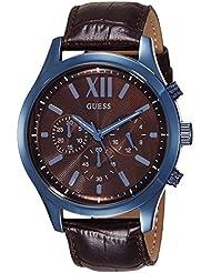 Guess W0789G2 - Reloj con correa de piel, para hombre, color marrón / negro