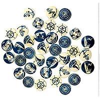 BanboYohi Runde Holzknöpfe, 2 Löcher, für Kinderknopf sortieren Spiele/Nähen / DIY Handwerk 100er (Marine-Serie)