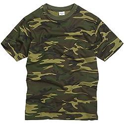 Camiseta Camuflaje 100% Algodón estilo militar. Camuflaje Woodland. Bosque. Talla S