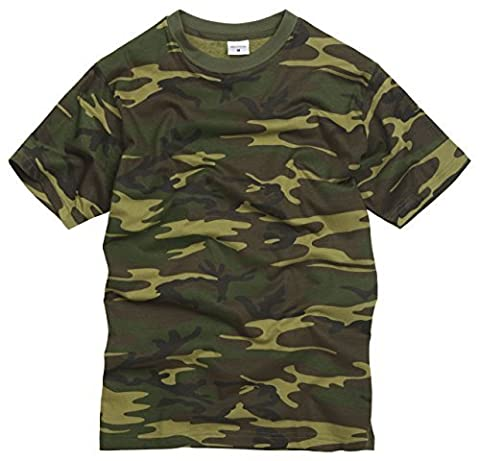 100% Cotton Military Style T-shirt - Woodland Camouflage (M)