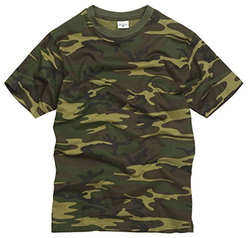 Camiseta 100% Algodón estilo militar. Camuflaje Woodland. Bosque. Talla XS