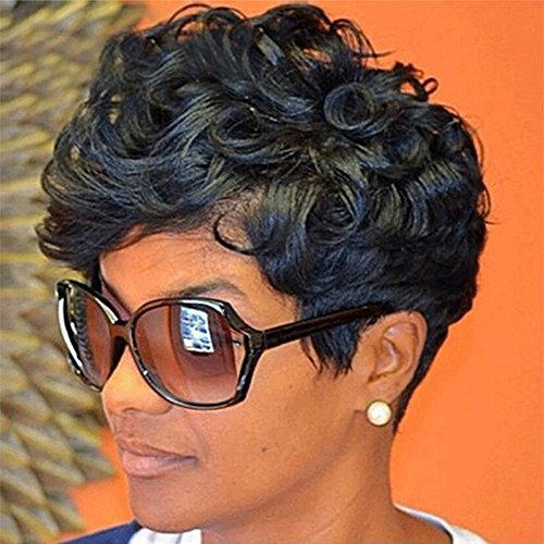 80 ' S Perücke (Mypace Blond Lang Glatt Für Männer Damen Frauen Short Black Front Curly Frisur Synthetic Hair Wigs For Black)