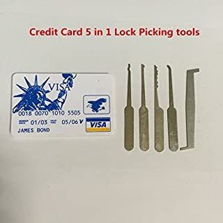 Credit Card 5 in 1 Lock Pick Set Professional Lock Pick Tools Locksmith Tools for Beginners Practice by Unknown