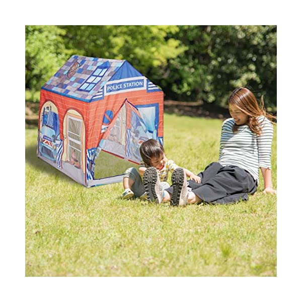 Relaxdays Police Station Play Tent for Children, Outdoors, 3 and Up, Fabric Kids Playpen HWD 102 x 72 x 95 cm, Blue-Red Relaxdays Large: This red and blue play tent with 2 entries measures H x W x D app. 102 x 72 x 95 cm With print: Police station tent - Print with police car and dog - Perfect for playing detective Lots of fun: The non-toxic play tent provides loads of fun for kids aged 3 and up 2
