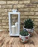 Home Deco Londra Premium Designer di Metallo e Vetro Lanterna in Bianco Lucido con Manico Rustico–Perfetto portacandela centrotavola per Matrimoni e Eventi