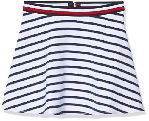 Tommy Hilfiger Mädchen Essential Stripe Skater Skirt Rock, Blau (Black Iris/Bright White 002), 110 (Herstellergröße: 5)