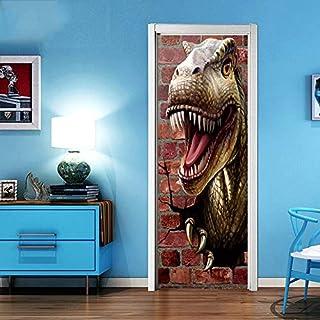 FERZA home 3D Dinosaurier kreative Tür Aufkleber Schlafzimmer Tür renoviert Art Deco Wand Poster Tür Aufkleber Tapete Aufkleber Tür Wandbild wasserdicht selbstklebende Wanddekorationen für Zuhause 77C