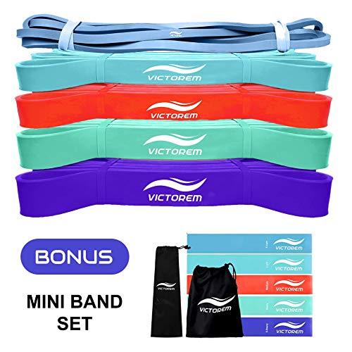 VICTOREM - Loop Bands Theraband Set - 10x Fitnessband mit praktischer Tragetasche - Mini und Power Band Fitnessbänder für Pull Ups, Stretching, Yoga, Physiotherpie Oberkörper, Beine und Po