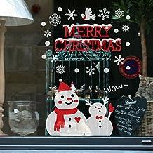 Pared de la Navidad Etiqueta,RETUROM Linda Navidad muñeco de nieve extraíble vinilo ventana pared pegatinas decoración(C)