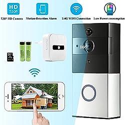 Sonnette avec caméra sans fil vidéo 720p - étanche - récepteur inclus - capteur nocturne infrarouge - audio birectionnel