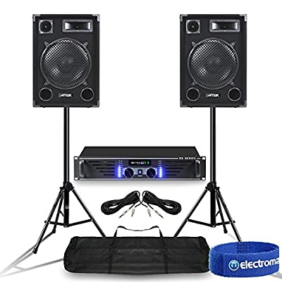 "Does not apply Pair MAX 12"" Mobile DJ Party Speakers Ekho RX600 Power Amplifier w/Stands 1400W"