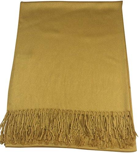 Hellgold Einfarbiges Design Stola Schal Umschlagtuch Schultertuch Tuch CJ Apparel