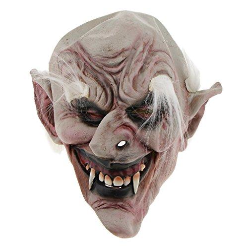 (P Prettyia Halloween Gesichtemaske Horrormaske Karnevalmaske Cosplaymaske Kostümmaske, Verschiedene Stile Clown Hexe Zombie usw. - Weißbrauen Old Demon)