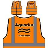 Signo del zodiaco de Acuario Regalo perfecto Novedad divertida Chaqueta de seguridad naranja personalizado de alta visibilidad a4vo