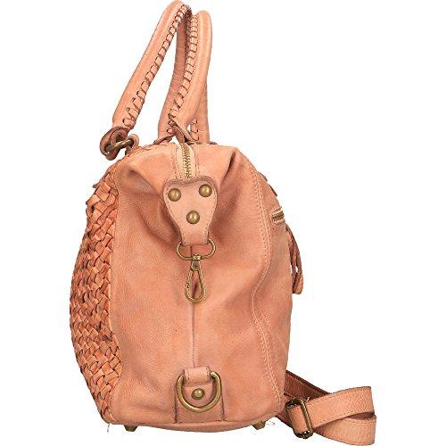 Borsa a Mano da Donna Chicca Borse Vintage in Vera Pelle Intrecciata Made in Italy 35x26x12 Cm Rosa