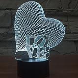 Herz LIEBE Bunte 3D-Gradienten Licht Touch-Schalter visuelle Illusion Lampe LED-Lampe Acryl Lampe