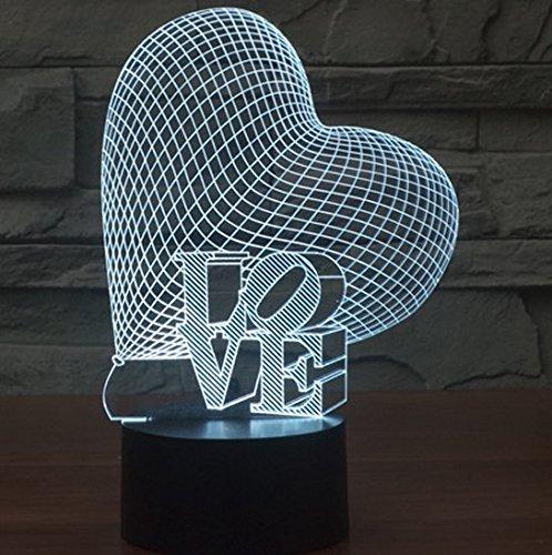 Herz LIEBE Bunte 3D-Gradienten Licht Touch-Schalter visuelle Illusion Lampe LED-Lampe Acryl (Turtle Schurken Ninja)