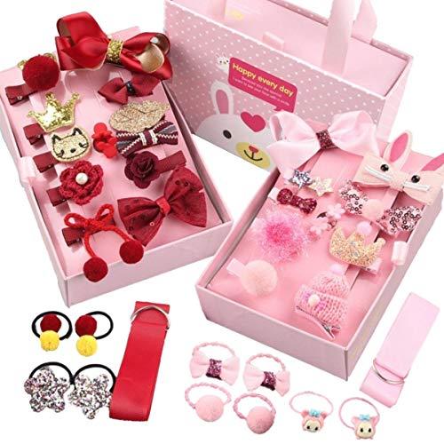 Jzk set 34 mollettine fermagli mollette fiocco rosa rosso e piccoli elastici per capelli bambina piccole, regalo compleanno natale per bimba