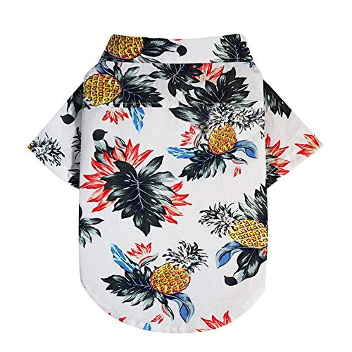 Slibrat Frühling Sommer Gedruckt Hawaiian Style Hund Katze Shirts Haustier Kleidung (Beige M) - Hawaiian Gedruckt