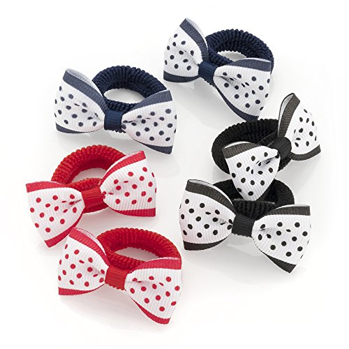 6 Navy, Red And Black Grosgrain Polka Dot Design Bow Hair Ponio Set
