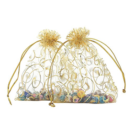Organza Bags 100pcs Gold Sheer Wedding Favor Bags 47x35 Inch