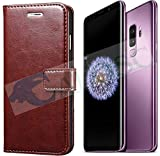 #10: Calosc® Samsung Galaxy S9 Plus Flip Cover, Vintage PU Leather Wallet Book Cover Case for Samsung Galaxy S9 Plus (Brown)