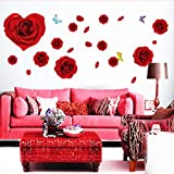 Grandes Roses Rouges Fleur Stickers Muraux Salon Couple Chambre Canapé Fond Maison...