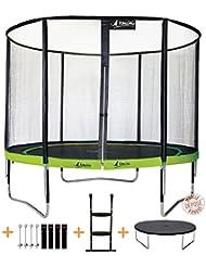 Kangui - Trampoline de jardin PUNCHI avec filet de sécurité et accessoires. Couleurs ALOE et ATOLL