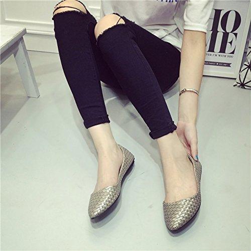WYMBS Nouvelles chaussures loisirs chaussures bouche peu profonds tissés rétro chaussures femmes scoop confortables chaussures plates gray