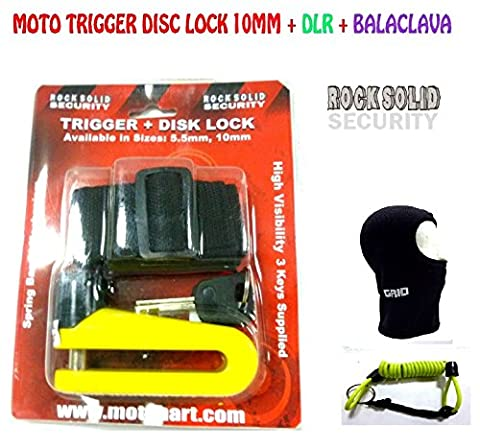 MOTO DISC LOCK TRIGGER 10MM ROCK SOLID MOTORBIKE MOTORCYCLE + DISC LOCK REMINDER CABLE
