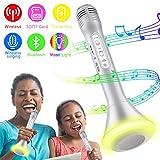 Bluetooth Microfono Wireless, Karaoke Bambino Altoparlante Microfono Karaoke Bluetooth Player Compatibile con iOS/Android, PC o Tutti Gli Smartphone (Argento)