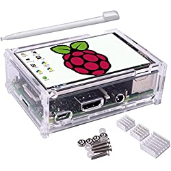 Kuman 3.5 Pulgadas Pantalla Táctil de TFT, 320x480 Resolución TFT LCD con la caja protectora + 3 x Disipadores de calor + Pluma Táctil para Raspberry Pi 3 Modelo B, Pi 2 Modelo B y Pi Modelo B + SC11