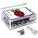 Kuman 3.5 inch pantalla LCD 320*480 Resolution Touch Screen TFT LCD Display With Protective Case + 3 x Heat sinks+ Touch Pen for Raspberry Pi 3 Model B, Pi 2 Model B & Pi Model B+ SC11