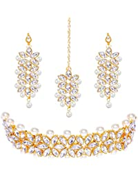 YouBella Jewellery Sets for Women Gold Plated Bridal Necklace Jewellery Set with Earrings for Girls/Women