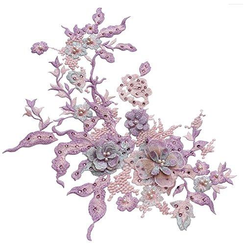PinzhiPerle Perlen 3D Blumen Spitze Applique Frauen Kleid Dekor Floral Patch Kostüm(Color3)
