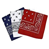 TOOGOO Set de 3 Bandanas Paisley Homme et Femme 57 x 57 cm Rouge+Blanc+Bleu Marine