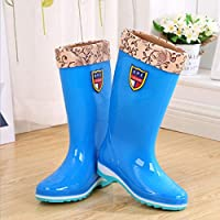 HRFHLHY High tube ladies rain boots Solid color waterproof shoes Non-slip rain boots Wearable protective shoes ladies plastic shoes non-slip female rain boots