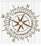 Nyngei Compass Shower Curtain Dispositivo di Navigazione di The Age of Discovery Windrose Design Sbiadito Controllo del canottaggioDecor con Pale Brown