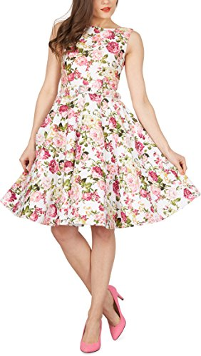 Black Butterfly 'Audrey' Vestido Vintage Años 50 Divinity (Marfil - Flores Rosas, ES 38 - S)