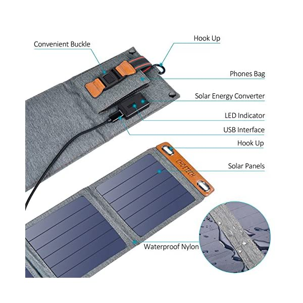 Solar Charger, CHOETECH 14W Waterproof Portable USB Outdoor Solar Panel Charger with 4 Foldable Solar Panel for… 5