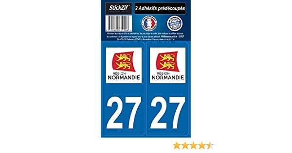 STICKZIF SR27 2 Adh/ésif Autocollants R/égion D/épartement 27 Normandie Set de 2
