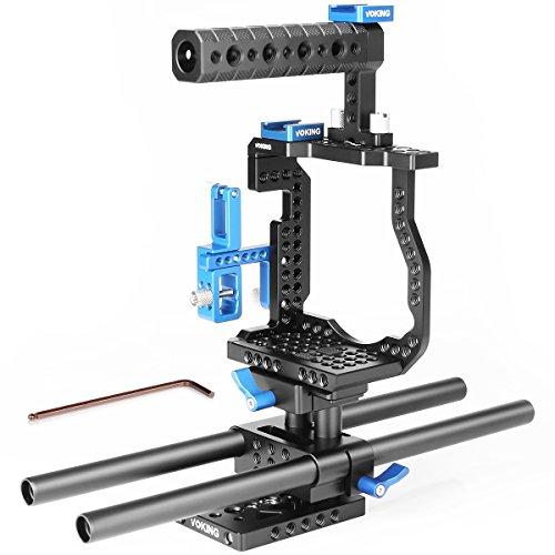 Voking VK gh5b Kamera Video Cage Film Movie Video Stabilisator Cage Kit + Video Käfig + Griff Grip + 2* Shoe Mount + 2* 15mm Rod + HDMI-Kabel für Lumix DMC-GH5